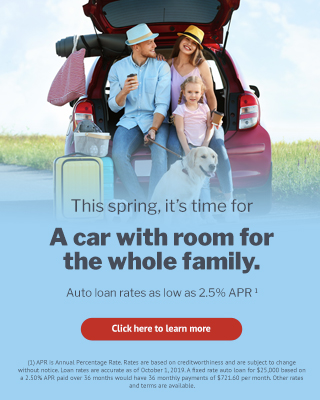 This spring, it's time for a car with room for the whole family. USE Credit Union offers auto loan rates as low as 2.5% APR. APR is Annual Percentage Rate. Rates are based on creditworthiness and are subject to change without notice. Loan rates and terms are accurate as of October 1, 2019. A fixed rate auto loan for $25,000 based on a 2.50% APR paid over 36 months would have 36 monthly payments of $721.60 per month. Other rates and terms are available.