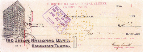 Our first check, dated January 10, 1934.